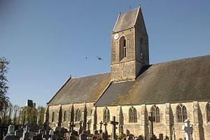 Auvers, Manche - Saint-Étienne church and the château