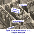 Église Saint-Pierre-des-Arcis sur plan de Turgot.png
