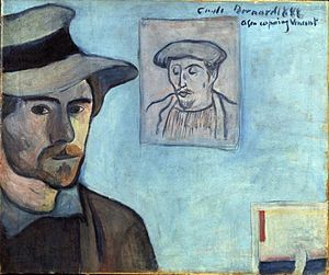 Émile Bernard - Image: Émile Bernard 1888 Self portrait with Gauguin portrait for Vincent