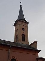 Újpest-Belsőváros Reformed church, tower, 2018 Újpest.jpg