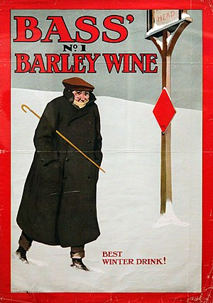 Bass Brewery - Advertisement for Bass' No.1 Barley Wine, showing the Bass Red Diamond