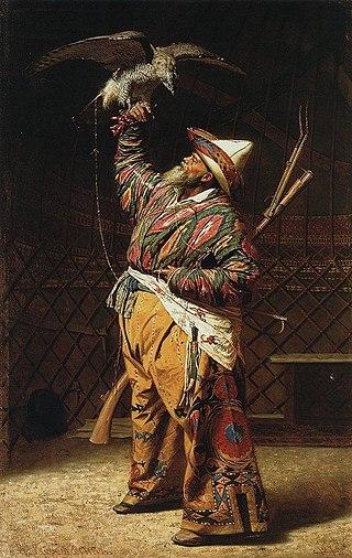 Богатый киргизский охотник с соколом, 1871