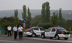 Crime in Moldova - Moldovan police at Chișinău International Airport.
