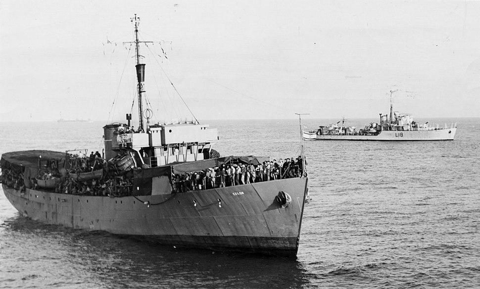 פלים ספינות המעפילים א - יאשיהו ודגווד (BEUHARNIOS) - הכניסה לנמל חיפה בליווי -151988