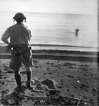 Battle of Buna–Gona: Japanese forces and order of battle - A Japanese soldier attempting to escape by sea avoids capture by exploding a grenade by his head. AWM013968
