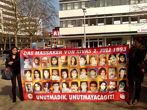 Sivas massacre - Banner with photos from the victims of the Sivas massacre on July 2, 1993
