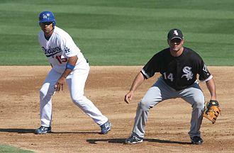 Rafael Furcal - Furcal (left) with White Sox first baseman Paul Konerko during spring training action, 2008.