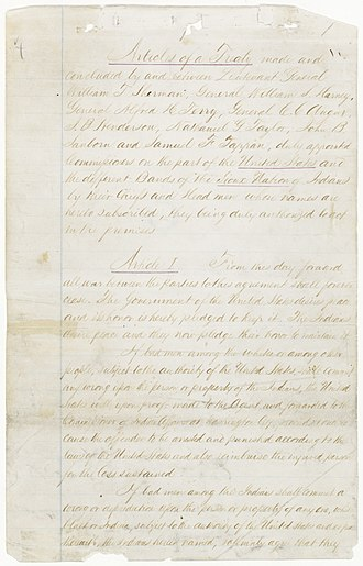 Treaty of Fort Laramie (1868) - Front page of 1868 Treaty of Fort Laramie, from the US National Archives