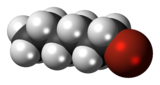 Spacefill model of 1-bromohexane