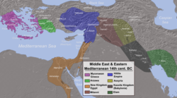 Map of the Ancient Near East during the Amarna Period (14th century BC), showing the great powers of the day: Egypt (orange), Hatti (blue), the Kassite kingdom of Babylon (black), Assyria (yellow), and Mitanni (brown). The extent of the Achaean/Mycenaean civilization is shown in purple.