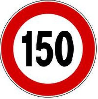Speed limits in Italy - Image: 150 km h