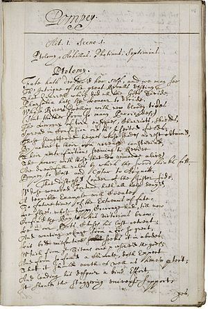 Katherine Philips - A page from a manuscript copy of Philips' poetry, c. 1670.