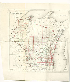 Wisconsin Central Railroad (1871–99) - 1865 map of Wisconsin