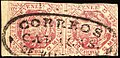 1866 MedioReal pair Venezuela oval Caracas Mi15b.jpg