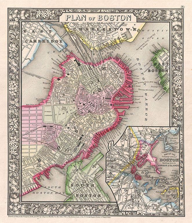 file 1866 mitchell map of boston  massachusetts - geographicus