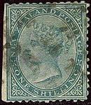1874ca 1sh green New Zealand Yv57 Mi49D SG157.jpg