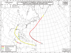1890 Atlantic hurricane season - Image: 1890 Atlantic hurricane season map