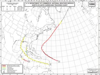 1890 Atlantic hurricane season - Image: 1890 Atlantic hurricane season map