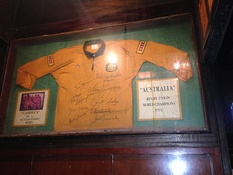1991 Rugby World Cup Final - 1991 Rugby World Championship - David Campese's no. 11 autographed shirt exhibited in a Hong Kong pub
