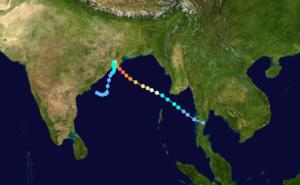 1999 Odisha cyclone - Image: 1999 Indian cyclone 05B track