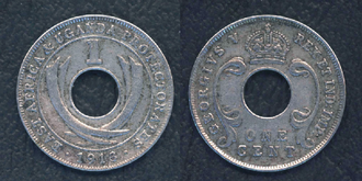 East African rupee - 1 cent coin from 1913, cupro-nickel alloy
