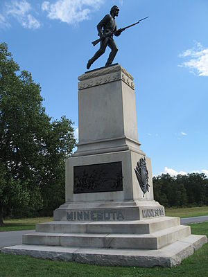 1st Minnesota Volunteer Infantry - Monument to the 1st Minnesota Infantry Regiment at Gettysburg Battlefield, Gettysburg, Pennsylvania, located on Cemetery Ridge, off South Hancock Avenue.