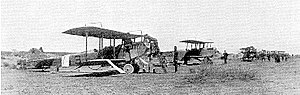 "Columbus Municipal Airport (New Mexico) - 1st Aero Squadron on the Mexican US border, 1916, marked with ""later Soviet-style red stars"", as the US national insignia, on rudder and wings."