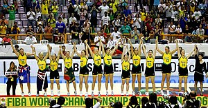 A photograph of the Australian National women's basketball team which won the 2006 FIBA World Championship for Women in basketball