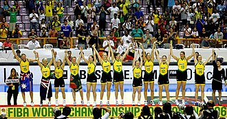Australia women's national basketball team - The National team celebrating after being awarded the gold medals for winning the 2006 FIBA World Championship for Women in basketball