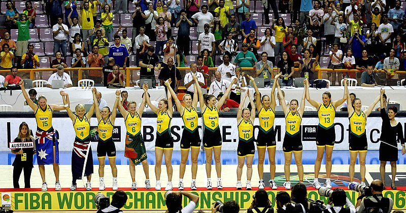 The Australian women's basketball team on winning the 2006 FIBA World Championship 2006 World Championship for Women Australia.jpg