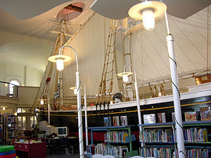 Center Methodist Church - Half-scale replica of the Rose Dorothea, inside the Provincetown Public Library (the former Center Methodist Church