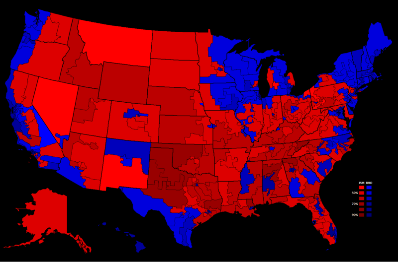 2008 United States Presidential Election, Results by Congressional District.png