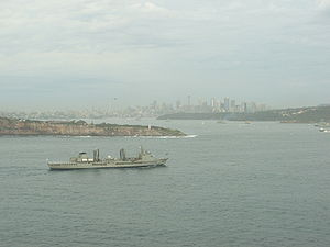 HMAS Success (OR 304) - Success entering Sydney Harbour during the 2009 ceremonial fleet entry