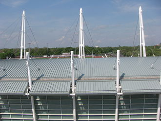 Gerald Ratner Athletics Center - Image: 20100507 Ratner Center pool roof and masts