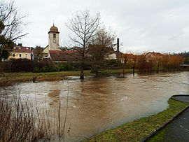 The overflowing Lizaine river in Bethoncourt