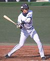 20120401 Masasi Nisimori, catcher of the Yokohama DeNA BayStars, at Yokosuka Stadium.JPG