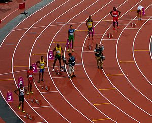 Athletics at the 2012 Summer Olympics – Men's 200 metres - The start of the second semi-final