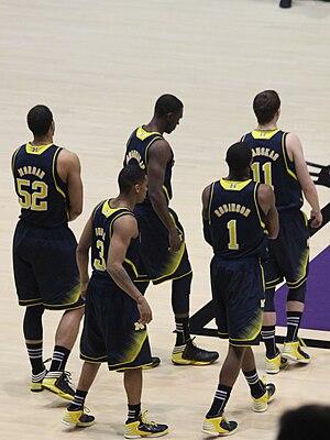 2012–13 Michigan Wolverines men's basketball team - The starting five (Burke, Hardaway, Jr., Morgan, Robinson III, Stauskas)  in the January 3 2012–13 Big Ten Conference season opener against Northwestern at Welsh-Ryan Arena