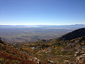 2014-09-24 09 08 09 View southeast across Lizzie's Basin and Clover Valley from a chute on the east side of Hole-in-the-Mountain Peak in the East Humboldt Range, Nevada.JPG