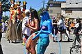 2015 Fremont Solstice parade - painted topless hula hoopers 01.jpg