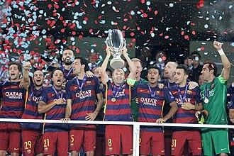 2015 UEFA Super Cup - Barcelona lift UEFA Super Cup after defeating Sevilla in the final.