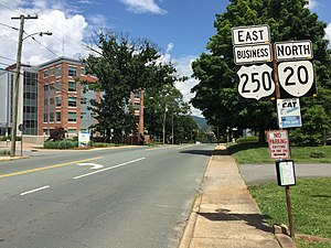 U.S. Route 250 in Virginia - View east along US 250 BUS and north along SR 20 in Charlottesville
