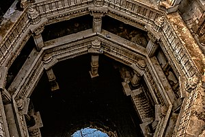 Adalaj Stepwell - The step well is five stories deep.