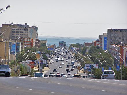 Aktau is Kazakhstan's only seaport on the Caspian Sea 35Aktau główna ulica.JPG