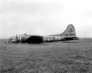 RAF Kimbolton - Lockheed/Vega B-17G-15-VE Flying Fortress AAF Serial No. 42-97462 of the 527th Bomb Squadron after a belly landing. This aircraft was repaired and returned to combat duty.