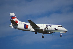 39bb - Crossair Saab 340B; HB-AKK@ZRH;09.09.1998 (8296142611).jpg