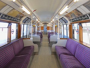 London Underground 1938 Stock - The interior of a Class 483