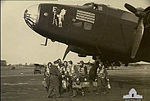 51 Squadron RAF Halifax E for Easy aircrew after 100th mission AWM SUK14283.jpg