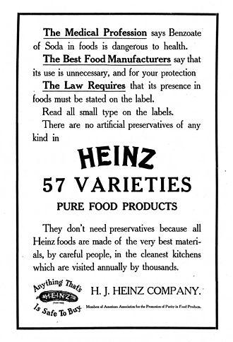 Heinz 57 - H. J. Heinz Company marketing material c.1909