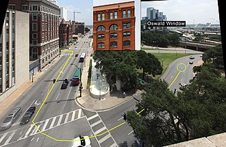 Sixth Floor Museum at Dealey Plaza - This is a view from the next window over from the Oswald shooting position. The yellow line shows the route of Kennedy's motorcade. There is an 'x' on the road marking the location of the final fatal bullet which struck Kennedy.